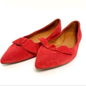 madewell   french knot pointy skimmer suede red 10